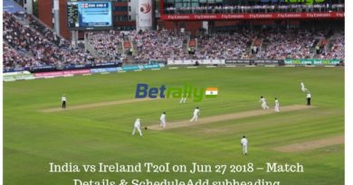 India vs Ireland T20I on Jun 27 2018 – Match Details & Schedule