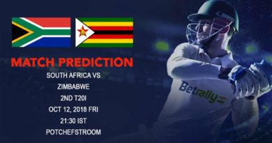 Cricket Prediction Zimbabwe tour of South Africa– South Africa look to continue their winning ways against Zimbabwe in 2nd T20–October 12, 2018