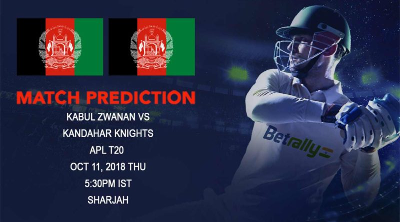 Cricket Prediction Afghanistan Premier League – Kabul Zwanan take on Kandahar Knights to break away from mid-table tussle – October 11, 2018