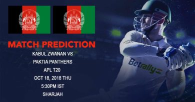 Cricket Prediction Afghanistan Premier League – Kabul Zwanan take on Paktia Panthers in their last group game – October 18, 2018