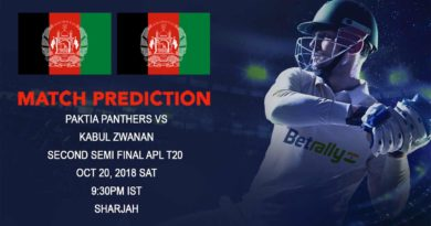Cricket Prediction Afghanistan Premier League – Kabul Zwanan take on Paktia Panthers in the second semi-final – October 20, 2018
