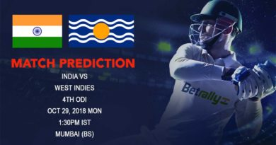 Cricket Prediction West Indies tour of India – Struggling India look to take lead against West Indies in fourth ODI – October 29, 2018