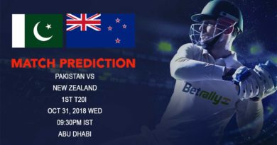 Cricket Prediction New Zealand tour of United Arab Emirates 2018/19 – New Zealand back from hibernation, take on Pakistan in first T20 – October 31, 2018