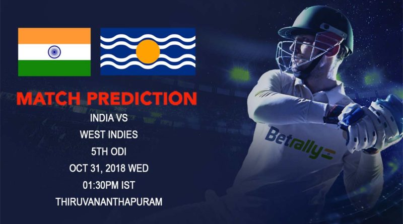 Cricket Prediction West Indies tour of India – Another bilateral series win on the cards for India as they play fifth ODI against West Indies – November 1, 2018