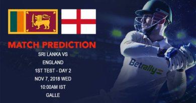 Cricket Prediction England tour of Sri Lanka 2018/19 – England recovery makes the prospect of Day 2 Interesting – November 7, 2018