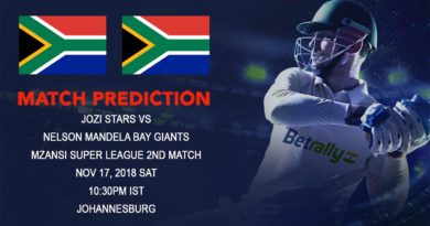 Cricket Prediction Mzansi Super League T20 – Jozi Stars take on Nelson Mandela Bay Giants – November 17, 2018