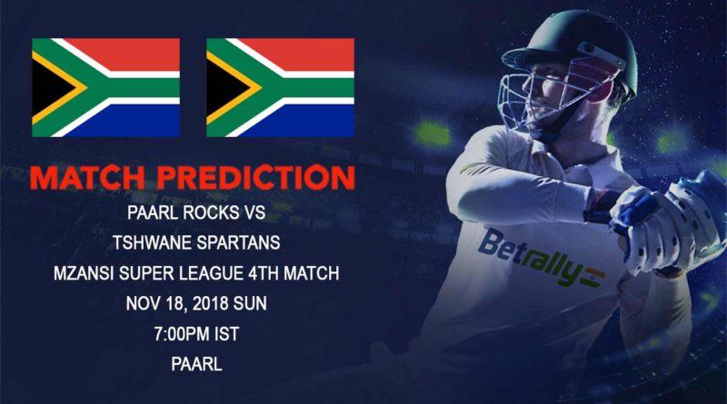 Cricket Prediction Mzansi Super League T20 – Paarl Rocks clash against ABD's Tshwane Spartans – November 18, 2018