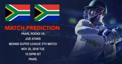 Cricket Prediction Mzansi Super League T20 – Paarl Rocks seek maiden victory against Jozi Stars – November 20, 2018
