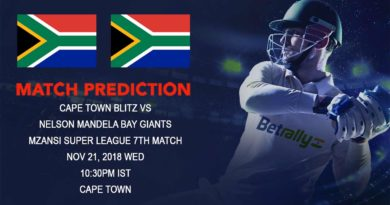 Cricket Prediction Mzansi Super League T20 – Cape Town Blitz take on Nelson Mandela Bay Giants – November 21, 2018