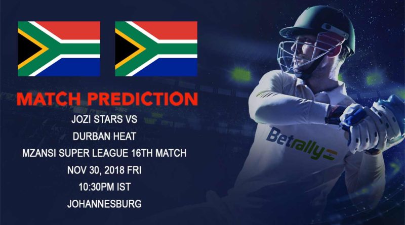 Cricket Prediction Mzansi Super League T20 – Jozi Stars and Durban Heat seek reversal of fortunes – November 30, 2018