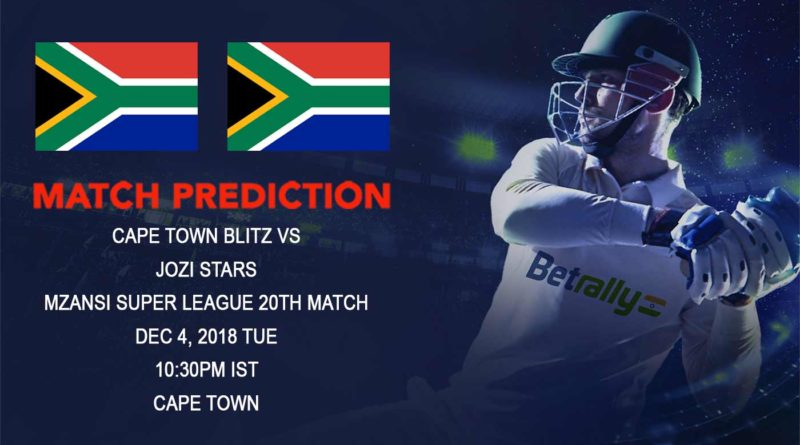 Cricket Prediction Mzansi Super League T20 – Heavyweights clash as Cape Town Blitz hosts Jozi Stars – December 04, 2018