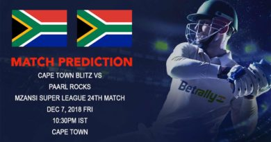 Mzansi Super League – Paarl Rocks look to consolidate their position on points table as they take on Cape Town Blitz – December 7, 2018