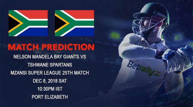 Cricket Prediction Mzansi Super League T20 – Nelson Mandela Bay Giants take on Tshwane Spartans – December 08, 2018