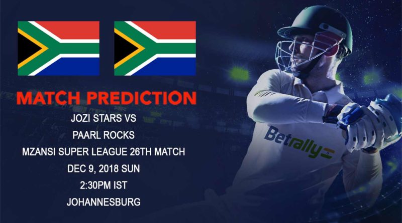 Cricket Prediction Mzansi Super League – Paarl Rocks take on Jozi Stars in a crucial game – December 09, 2018