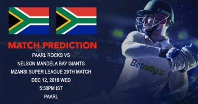 Cricket Prediction Mzansi Super League T20 – Paarl Rocks take on Nelson Mandela Bay Giants – December 12, 2018
