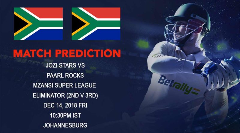 Cricket Prediction Mzansi Super League T20 – Jozi Stars vs Paarl Rocks – Jozi Stars take on Paarl Rocks for a spot in the Final