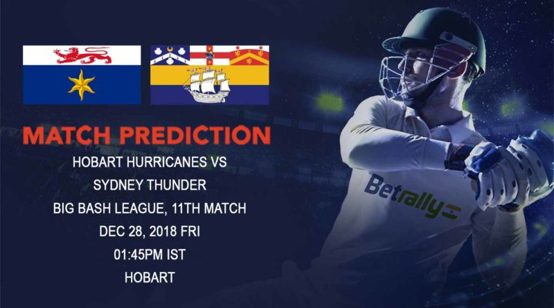 Cricket Prediction Big Bash League – Hobart Hurricanes vs Sydney Thunder – Cracking game in store as powerhouse Hobart Hurricanes take on Sydney Thunder
