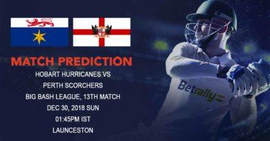 Cricket Prediction Big Bash League – Hobart Hurricanes vs Perth Scorchers – Perth Scorchers look to continue winning habit