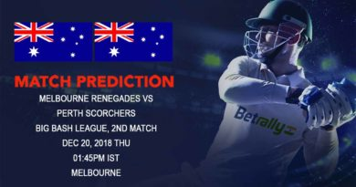 Cricket Prediction Big Bash League – Melbourne Renegades vs Perth Scorchers – Semifinalists of last year take on each other in their first game
