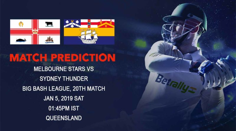 Cricket Prediction Big Bash League – Melbourne Stars vs Sydney Thunder – Stars take on Thunder in a crucial game