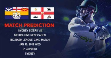 Cricket Prediction Big Bash League – Sydney Sixers vs Melbourne Renegades – Sixers and Renegades look to recover from their last loss