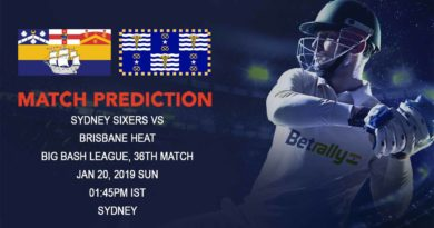 Cricket Prediction Big Bash League – Sydney Sixers vs Brisbane Heat – Sydney Sixers look to get into top four