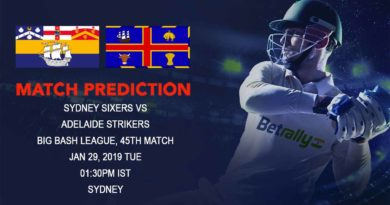 Cricket Prediction Big Bash League – Sydney Sixers vs Adelaide Strikers – Sydney Sixers look to continue their good form against slipping Adelaide Strikers