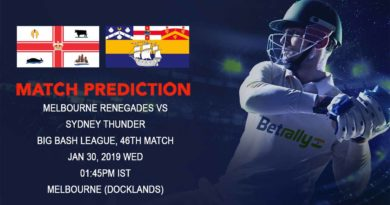 Cricket Prediction Big Bash League – Melbourne Renegades vs Sydney Thunder – Melbourne Renegades and Sydney Thunder look to get ahead of each other