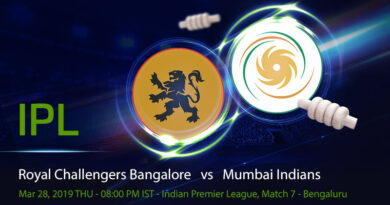 Cricket Prediction Indian Premier League – Royal Challengers Bangalore vs Mumbai Indians – Royal Challengers Bangalore and Mumbai Indians to recover from their first loss