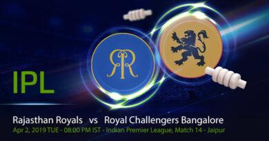 Cricket Prediction Indian Premier League – Rajasthan Royals vs Royal Challengers Bangalore – Royal Challengers Bangalore take on Rajasthan Royals in their den