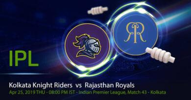 Cricket Prediction Indian Premier League –Kolkata Knight Riders vs Rajasthan Royals – Struggling KKR and RR meet again