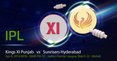 Cricket Prediction Indian Premier League – Kings XI Punjab vs Sunrisers Hyderabad – Dominant Sunrisers Hyderabad look to continue their dominance over Kings XI Punjab