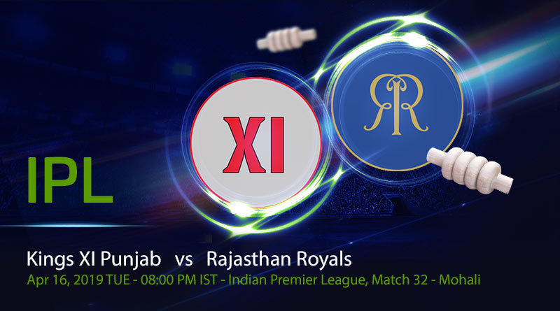 Cricket Prediction Indian Premier League –Kings XI Punjab v Rajasthan Royals– Fresh from a win Rajasthan Royals take on slipping Kings