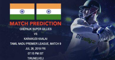 Cricket Prediction Tamil Nadu Premier League – Chepauk Super Gillies vs Karaikudi Kaalai – Fresh off a win Chepauk Super Gillies take on Karaikudi Kaalai