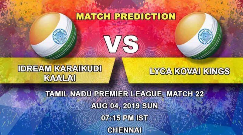 Cricket Prediction Tamil Nadu Premier League – IDream Karaikudi Kaalai vs Lyca Kovai Kings – Lyca Kovai Kings look to get into the top four after the game against IDream Karaikudi Kaalai