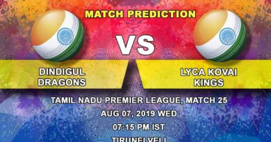 Cricket Prediction Tamil Nadu Premier League – Dindigul Dragons vs  Lyca Kovai Kings – Dindigul Dragons clash with Lyca Kovai Kings in their final group game