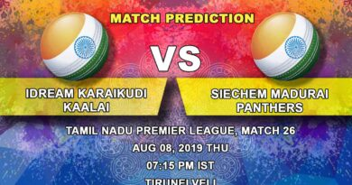 Cricket Prediction Tamil Nadu Premier League – IDream Karaikudi Kaalai vs Siechem Madurai Panthers – Resurgent Siechem Madurai Panthers take on slipping IDream Karaikudi Kaalai
