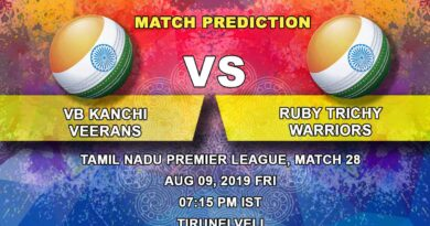 Cricket Prediction Tamil Nadu Premier League – VB Kanchi Veerans vs Ruby Trichy Warriors – Ruby Trichy Warriors look to spoil VB Kanchi Veerans' playoffs plan