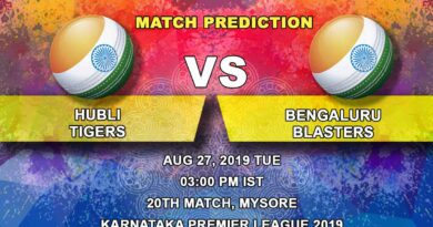 Cricket Prediction Karnataka Premier League – Hubli Tigers vs Bengaluru Blasters – Tigers look to go into the playoffs with momentum