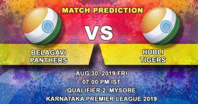 Cricket Prediction Karnataka Premier League – Belagavi Panthers vs Hubli Tigers – Consistent Hubli Tigers look to make it to their third final