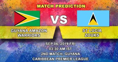 Cricket Prediction Caribbean Premier League – Guyana Amazon Warriors vs St Lucia Zouks – Guyana Warriors look to begin well against Zouks