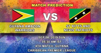 Cricket Prediction Caribbean Premier League – Guyana Amazon Warriors vs St Kitts and Nevis Patriots – Warriors look to continue their winning run