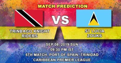 Cricket Prediction Caribbean Premier League – Trinbago Knight Riders vs St Lucia Zouks – Zouks take on Knight Riders juggernaut