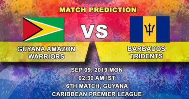 Cricket Prediction Caribbean Premier League – Guyana Amazon Warriors vs Barbados Tridents – Barbados play their first game of CPL 2019