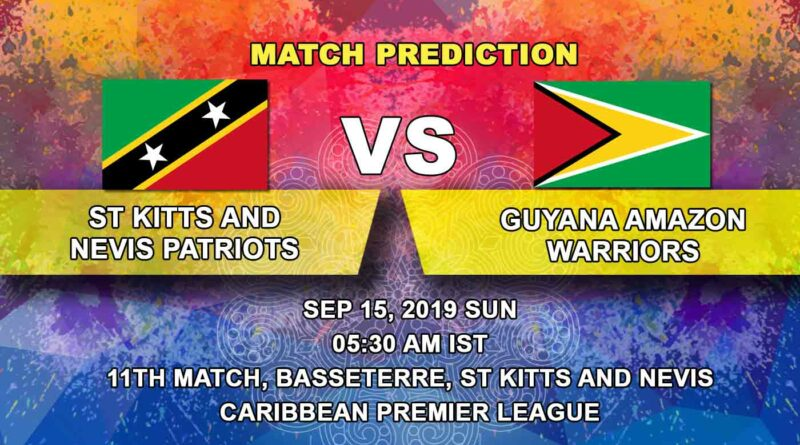 Cricket Prediction Caribbean Premier League – St Kitts and Nevis Patriots vs Guyana Amazon Warriors – Patriots take on Warriors in their fifth game