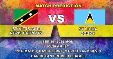Cricket Prediction Caribbean Premier League – St Kitts and Nevis Patriots vs St Lucia Zouks – Struggling Patriots take on Zouks to stop downward slide