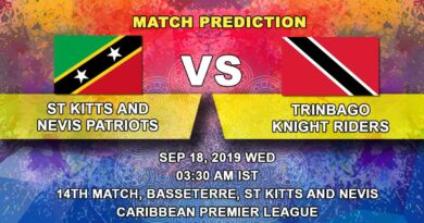 Cricket Prediction Caribbean Premier League – St Kitts and Nevis Patriots vsTrinbago Knight Riders – Fresh of a win Patriots take on Knight Riders