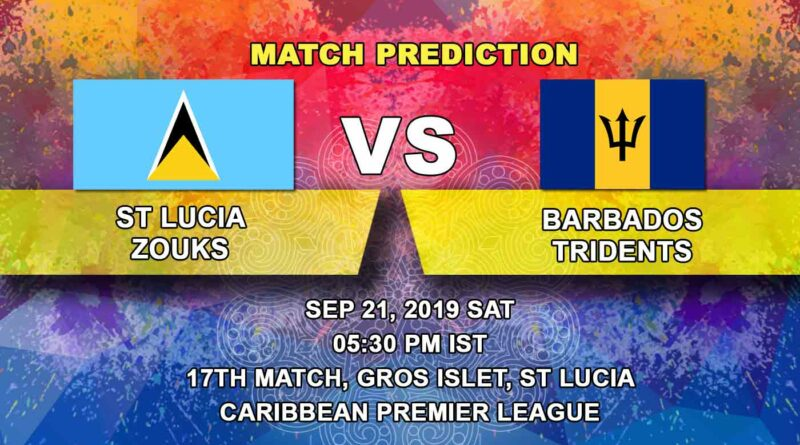 Cricket Prediction Caribbean Premier League – St Lucia Zouks vs Barbados Tridents – Teams on standby look to move up the ladder
