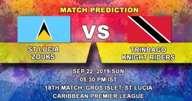 Cricket Prediction Caribbean Premier League – St Lucia Zouks vs Trinbago Knight Riders – Trinbago Knight Riders look to put their loss behind against St Lucia Zouks