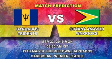 Cricket Prediction Caribbean Premier League – Barbados Tridents vs Guyana Amazon Warriors – Guyana Amazon Warriors look to extend their dominance in the tournament